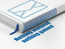 Business concept: book Email, Nothing ventured Nothing gained on white background. Business concept: closed book with Blue Email icon and text Nothing ventured Royalty Free Stock Images
