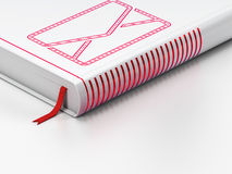 Business concept: closed book, Email on white. Business concept: closed book with Red Email icon on floor, white background, 3d render Stock Photo