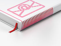 Business concept: closed book, Email on white. Business concept: closed book with Red Email icon on floor, white background, 3d render Stock Images
