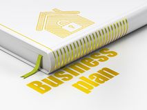 Business concept: book Home, Business Plan on white background. Business concept: closed book with Gold Home icon and text Business Plan on floor, white Stock Images