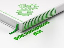 Business concept: book Gears, Debt Management Plan on white background. Business concept: closed book with Green Gears icon and text Debt Management Plan on Stock Image