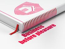 Business concept: book Shield, Business Before pleasure on white background. Business concept: closed book with Red Shield icon and text Business Before pleasure Stock Photo