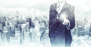 Business concept the company`s growth and increase statistics. A successful leader. Double exposure Royalty Free Stock Image