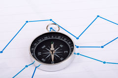Business concept with compass and graph on paper Stock Photography