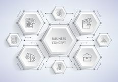 Business Concept Complicated Profitable Scheme. With minimalistic icons and arrows isolated cartoon monochrome vector illustration on white background Royalty Free Stock Photos