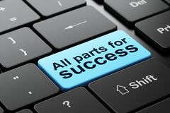 Business concept: All parts for Success on computer keyboard background. Business concept: computer keyboard with word All parts for Success, selected focus on Stock Image