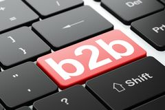 Business concept: B2b on computer keyboard background. Business concept: computer keyboard with word B2b, selected focus on enter button background, 3D rendering Stock Image