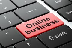 Business concept: Online Business on computer keyboard background. Business concept: computer keyboard with word Online Business, selected focus on enter button Royalty Free Stock Photography