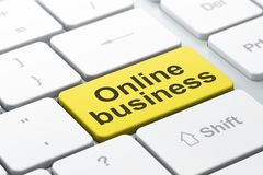 Business concept: Online Business on computer keyboard background. Business concept: computer keyboard with word Online Business, selected focus on enter button Royalty Free Stock Image