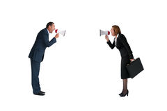 Business concept conflict megaphone isolated. Business concept conflict megaphone businessman and businesswoman isolated on white Royalty Free Stock Photos