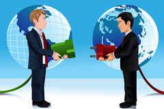 Business concept of connecting Eastern and Western world Stock Photo