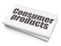 Business concept: Consumer Products on Blank Newspaper background. Business concept: Pixelated black text Consumer Products on Blank Newspaper background, 3D Royalty Free Stock Image