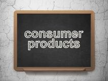 Business concept: Consumer Products on chalkboard background. Business concept: text Consumer Products on Black chalkboard on grunge wall background, 3D Royalty Free Stock Image
