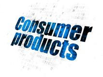 Business concept: Consumer Products on Digital background. Business concept: Pixelated blue text Consumer Products on Digital background Royalty Free Stock Photo