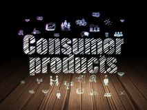 Business concept: Consumer Products in grunge dark room. Business concept: Glowing text Consumer Products,  Hand Drawn Business Icons in grunge dark room with Stock Photos