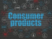 Business concept: Consumer Products on wall background. Business concept: Painted blue text Consumer Products on Black Brick wall background with Scheme Of Hand Stock Images