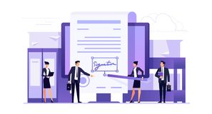 Business concept of contracting online. Electronic signature. Business concept of contracting online. Businessmen make an online deal. Template banner design in stock illustration