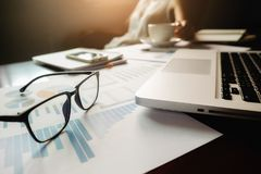 Business concept with copy space. Office desk table with pen foc Royalty Free Stock Image