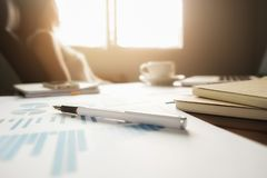 Business concept with copy space. Office desk table with pen foc Royalty Free Stock Photos