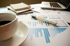 Business concept with copy space. Office desk table with pen foc Royalty Free Stock Photography