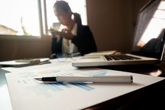 Business concept with copy space. Office desk table with pen foc Stock Photo