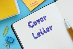Business concept about Cover Letter with sign on the sheet