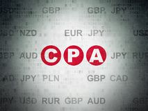 Business concept: CPA on Digital Data Paper background. Business concept: Painted red text CPA on Digital Data Paper background with Currency Royalty Free Stock Image