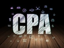 Business concept: CPA in grunge dark room. Business concept: Glowing text CPA,  Hand Drawn Business Icons in grunge dark room with Wooden Floor, black background Royalty Free Stock Image
