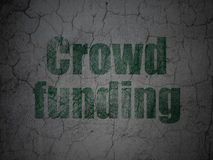 Business concept: Crowd Funding on grunge wall. Business concept: Green Crowd Funding on grunge textured concrete wall background, 3d render Stock Images