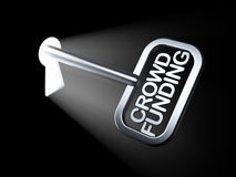Business concept: Crowd Funding on key. In keyhole, 3d render Royalty Free Stock Photos