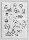 Business concept on crumpled paper and sticky note. Background stock images