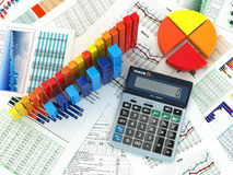 Business concept. Cslculator graph and charts. 3d Stock Photo