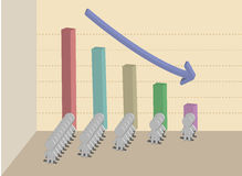 Business concept with 3d bar chart Royalty Free Stock Photos