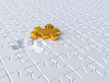 Business concept. 3d render of white jigsaw background with golden one. Business concept Royalty Free Stock Photos
