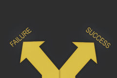 Business concept and decision making idea. Words of success and failure with yellow arrow on grey background, business concept and decision making idea Stock Photo