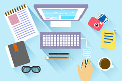 Business concept a desktop at office flat style Royalty Free Stock Photos