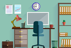 Business concept a desktop at office flat style Stock Photos