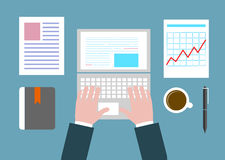 Business concept a desktop at office flat style Royalty Free Stock Image