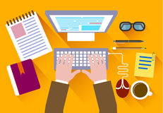 Business concept a desktop at office flat style Royalty Free Stock Images