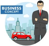 Business concept. Detailed illustration of businessman on background with red car and cityscape in flat style. Vector illustration Royalty Free Stock Photos