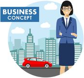 Business concept. Detailed illustration of businesswoman on background with red car and cityscape in flat style. Vector Stock Image