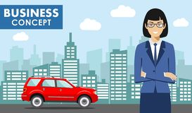 Business concept. Detailed illustration of young american businesswoman on background with red car and cityscape in flat Stock Photography