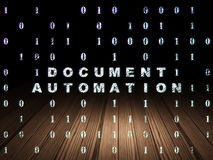 Business concept: Document Automation in grunge. Business concept: Glowing text Document Automation in grunge dark room with Wooden Floor, black background with Stock Photography