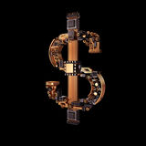 Business concept. Dollar currency symbol of microchips isolated on black background. Stock Photos