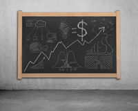 Business concept doodles on blackboard Royalty Free Stock Photo