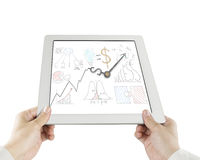 Business concept doodles with clock hands on tablet Royalty Free Stock Image