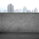 Business concept doodles on concrete wall with city view Stock Images