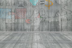 Business concept doodles on dark gray wooden wall and floor Royalty Free Stock Photos