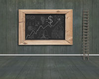 Business concept doodles drawn on blackboard with wood stepladde Stock Images