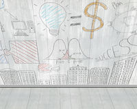 Business concept doodles on gray wooden wall Stock Image